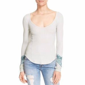 Free People Embroidered Sleeve Mint Thermal